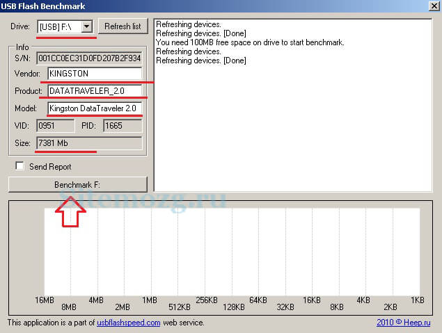 Начало теста флешки программой USB Flash Benchmark